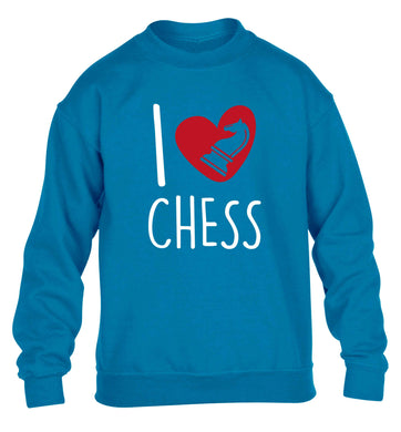 I love chess children's blue sweater 12-13 Years