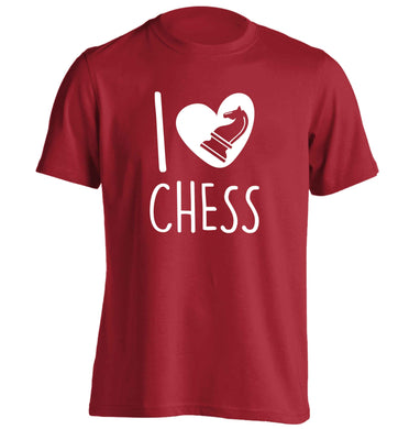 I love chess adults unisex red Tshirt 2XL