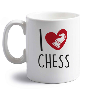 I love chess right handed white ceramic mug
