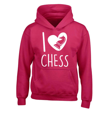 I love chess children's pink hoodie 12-13 Years