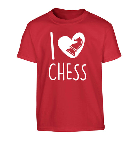 I love chess Children's red Tshirt 12-13 Years