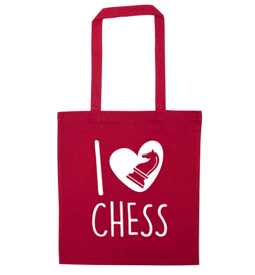 I love chess red tote bag