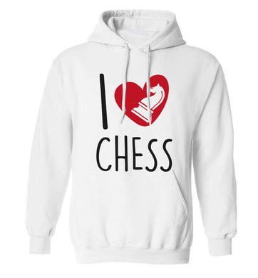 I love chess adults unisex white hoodie 2XL