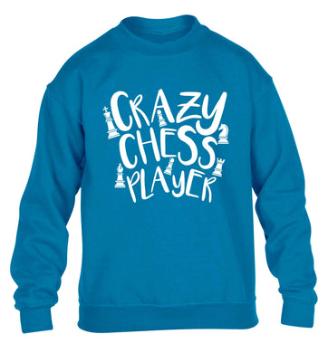 Crazy chess player children's blue sweater 12-13 Years