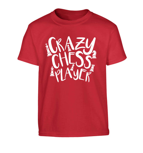 Crazy chess player Children's red Tshirt 12-13 Years