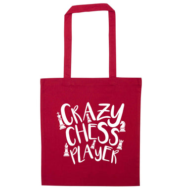 Crazy chess player red tote bag