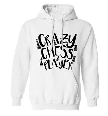 Crazy chess player adults unisex white hoodie 2XL