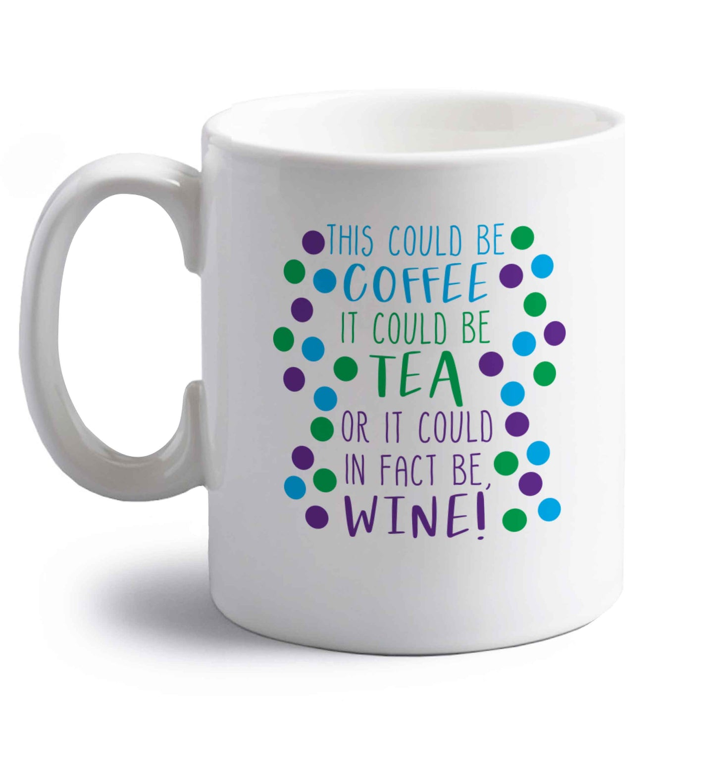 This could be tea, it could be coffee, or it could in fact be wine right handed white ceramic mug
