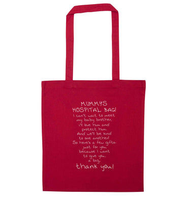 Mummy's hospital bag poem baby brother red tote bag