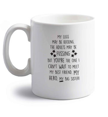 A poem from bump to big sister right handed white ceramic mug