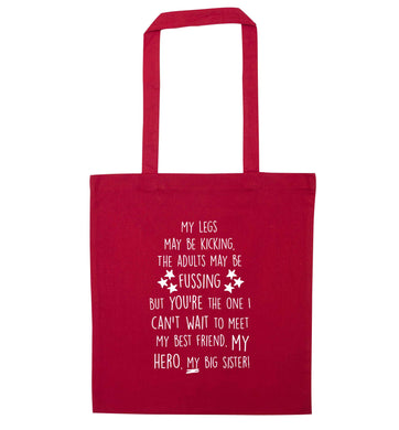 A poem from bump to big sister red tote bag