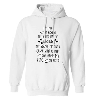 A poem from bump to big sister adults unisex white hoodie 2XL