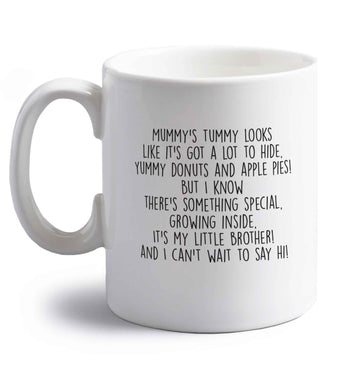 Something special growing inside it's my little brother I can't wait to say hi! right handed white ceramic mug