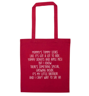 Something special growing inside it's my little brother I can't wait to say hi! red tote bag