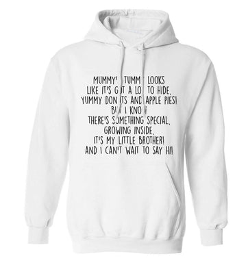 Something special growing inside it's my little brother I can't wait to say hi! adults unisex white hoodie 2XL