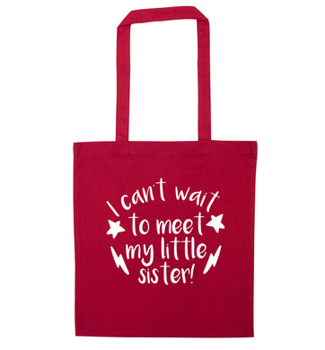 Something special growing inside it's my little sister I can't wait to say hi! red tote bag