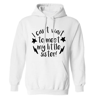 Something special growing inside it's my little sister I can't wait to say hi! adults unisex white hoodie 2XL