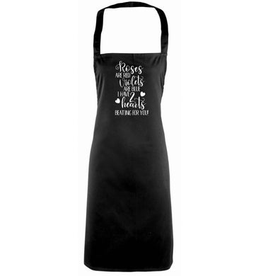 Roses are red violets are blue I have two hearts beating for you black apron
