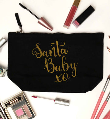 Santa baby black makeup bag