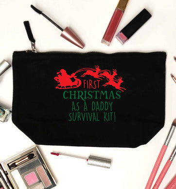 First Christmas as a daddy survival kit black makeup bag