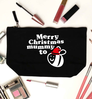Merry Christmas mummy to be black makeup bag
