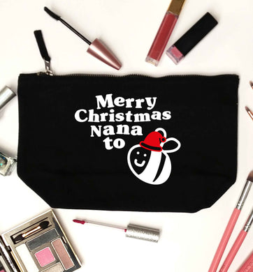Merry Christmas nana to be black makeup bag