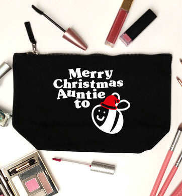 Merry Christmas auntie to be black makeup bag