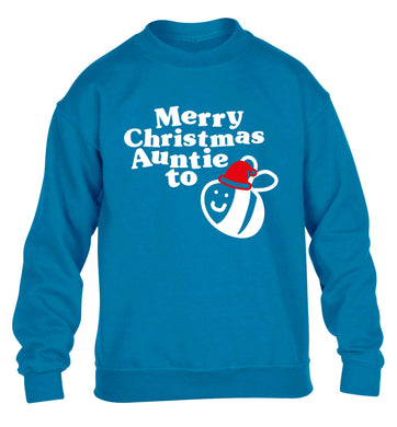Merry Christmas auntie to be children's blue sweater 12-13 Years