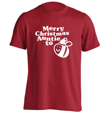 Merry Christmas auntie to be adults unisex red Tshirt 2XL