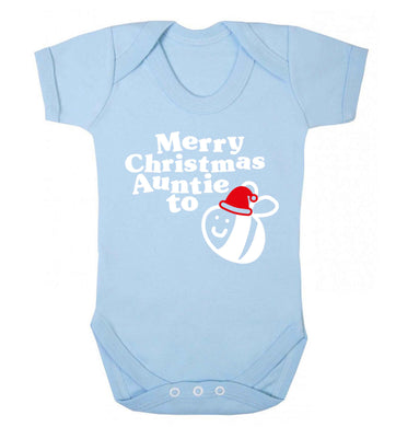 Merry Christmas auntie to be Baby Vest pale blue 18-24 months