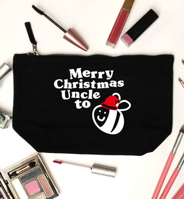 Merry Christmas uncle to be black makeup bag