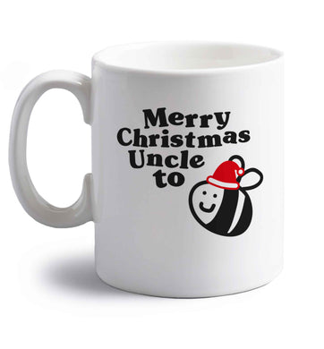 Merry Christmas uncle to be right handed white ceramic mug