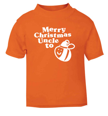 Merry Christmas uncle to be orange Baby Toddler Tshirt 2 Years