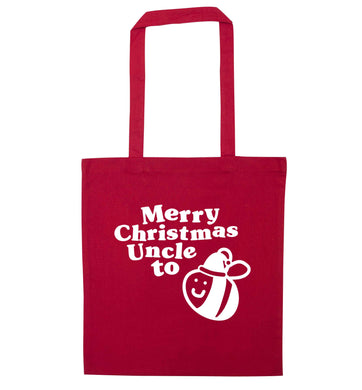 Merry Christmas uncle to be red tote bag
