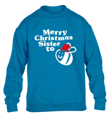 Merry Christmas sister to be children's blue sweater 12-13 Years