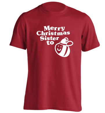Merry Christmas sister to be adults unisex red Tshirt 2XL