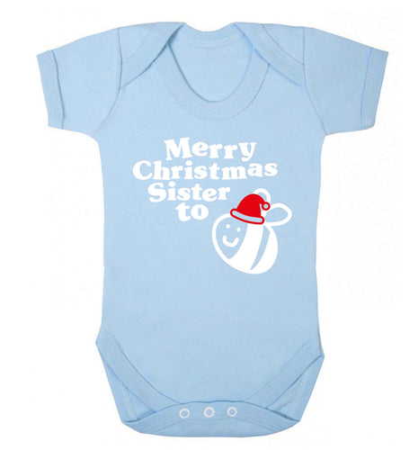 Merry Christmas sister to be Baby Vest pale blue 18-24 months