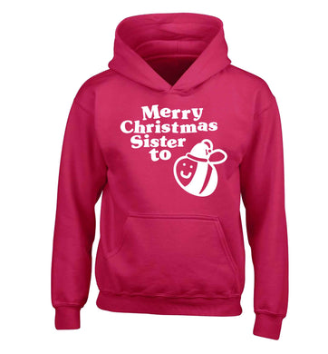 Merry Christmas sister to be children's pink hoodie 12-13 Years