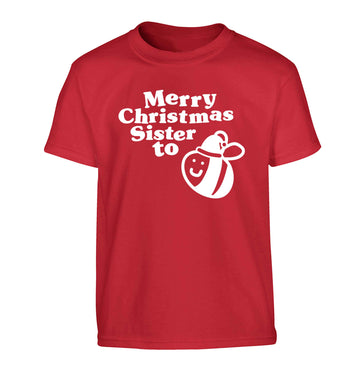 Merry Christmas sister to be Children's red Tshirt 12-13 Years
