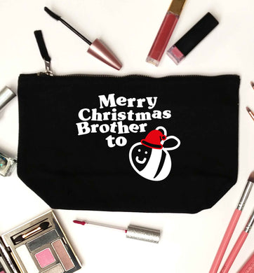 Merry Christmas brother to be black makeup bag
