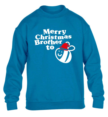 Merry Christmas brother to be children's blue sweater 12-13 Years