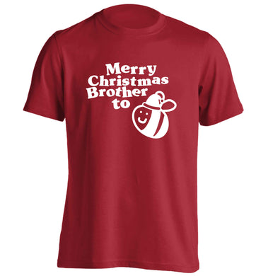 Merry Christmas brother to be adults unisex red Tshirt 2XL