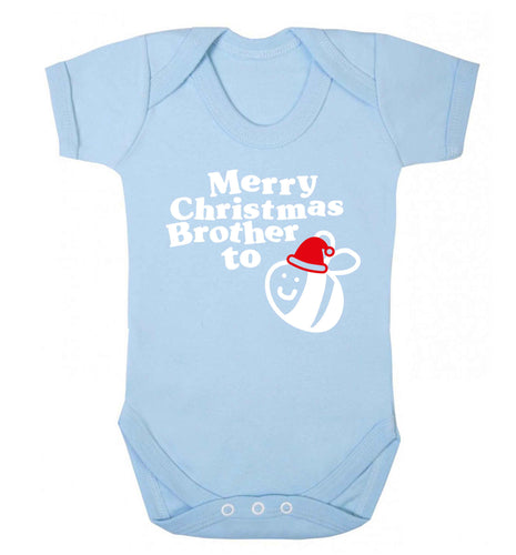Merry Christmas brother to be Baby Vest pale blue 18-24 months