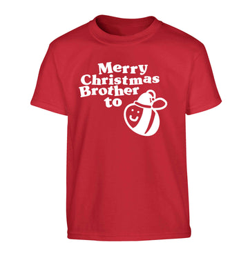 Merry Christmas brother to be Children's red Tshirt 12-13 Years