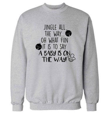 Oh what fun it is to say a baby is on the way! Adult's unisex grey Sweater 2XL
