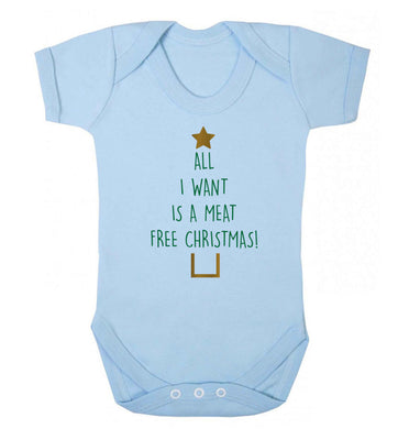All I want is a meat free Christmas Baby Vest pale blue 18-24 months