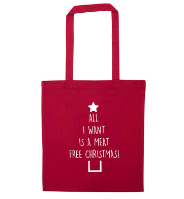 All I want is a meat free Christmas red tote bag