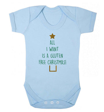 All I want is a gluten free Christmas Baby Vest pale blue 18-24 months