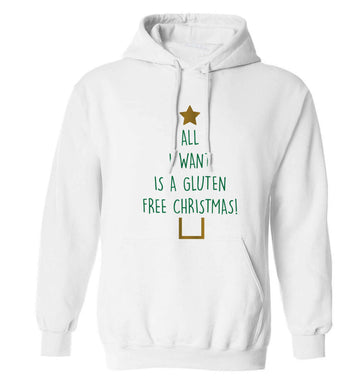 All I want is a gluten free Christmas adults unisex white hoodie 2XL