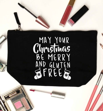 May your Christmas be merry and gluten free black makeup bag